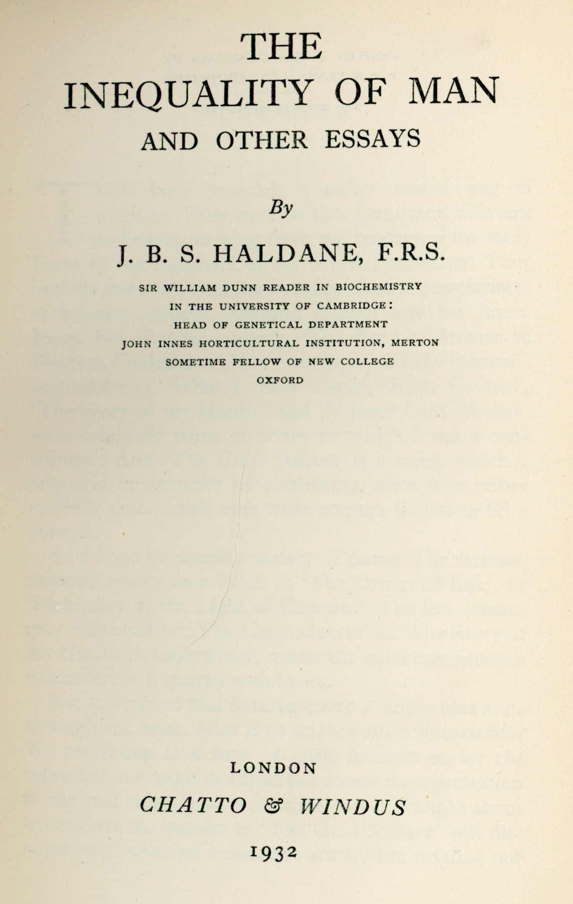 the inequality of man and other essays by jbs haldane